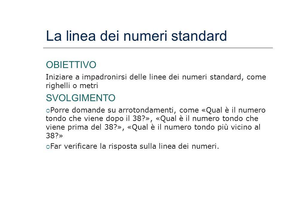La linea dei numeri standard OBIETTIVO Iniziare a impadronirsi delle linee dei numeri standard, come righelli o metri SVOLGIMENTO  Porre domande su a