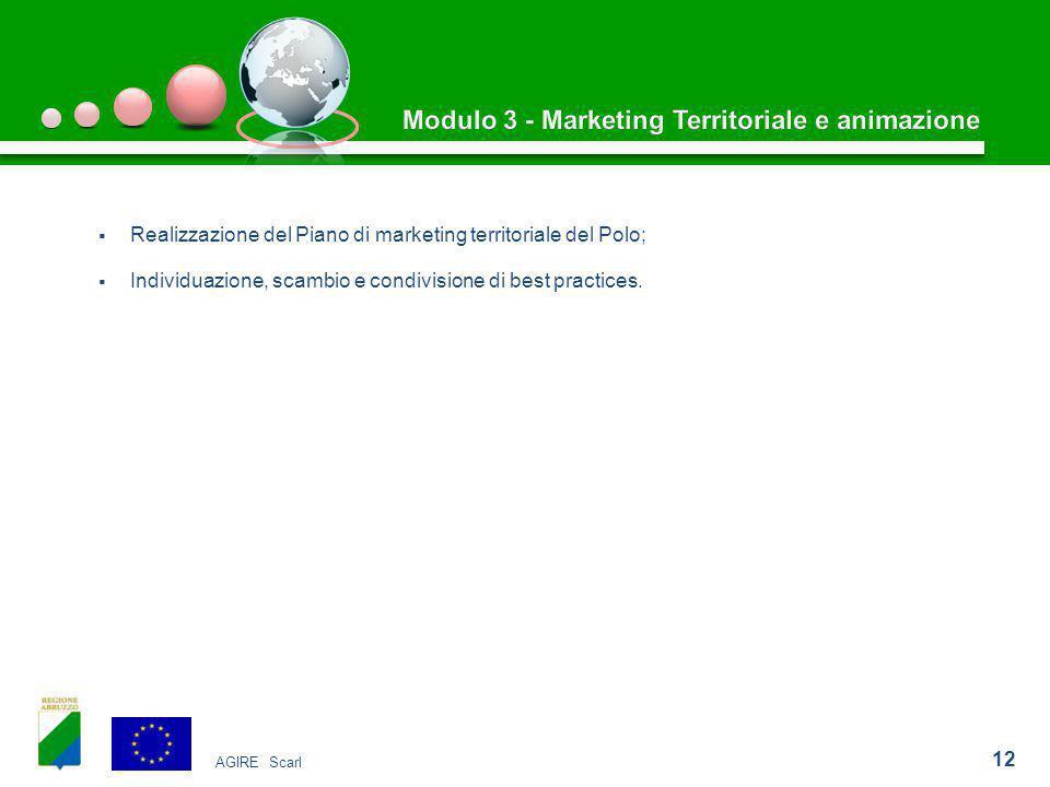  Realizzazione del Piano di marketing territoriale del Polo;  Individuazione, scambio e condivisione di best practices.