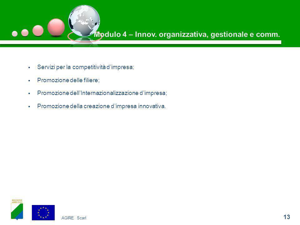  Servizi per la competitività d'impresa;  Promozione delle filiere;  Promozione dell'Internazionalizzazione d'impresa;  Promozione della creazione d'impresa innovativa.