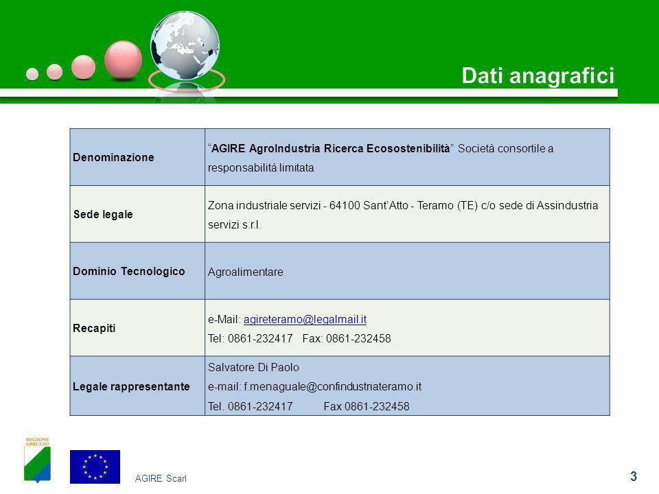 3 Denominazione AGIRE AgroIndustria Ricerca Ecosostenibilità Società consortile a responsabilità limitata Sede legale Zona industriale servizi - 64100 Sant'Atto - Teramo (TE) c/o sede di Assindustria servizi s.r.l.