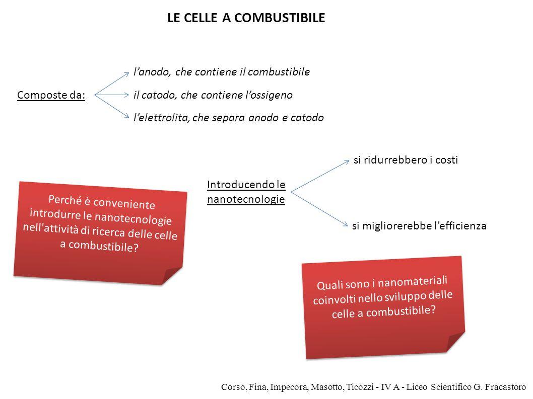 Composte da: Introducendo le nanotecnologie LE CELLE A COMBUSTIBILE si ridurrebbero i costi si migliorerebbe l'efficienza l'anodo, che contiene il com