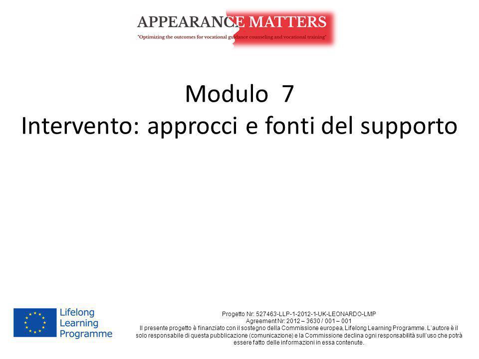 Modulo 7 Intervento: approcci e fonti del supporto Progetto Nr: 527463-LLP-1-2012-1-UK-LEONARDO-LMP Agreement Nr: 2012 – 3630 / 001 – 001 Il presente