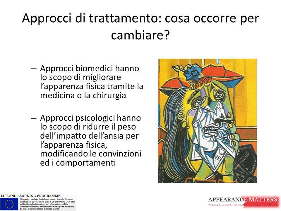 Approcci di trattamento: cosa occorre per cambiare? – Approcci biomedici hanno lo scopo di migliorare l'apparenza fisica tramite la medicina o la chir