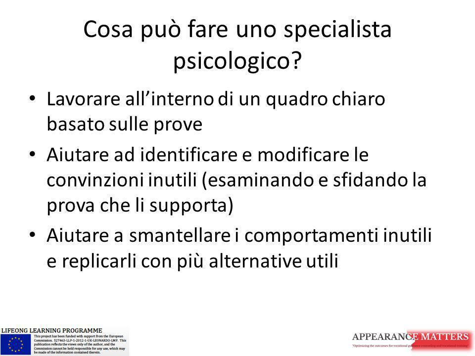 Cosa può fare uno specialista psicologico? Lavorare all'interno di un quadro chiaro basato sulle prove Aiutare ad identificare e modificare le convinz