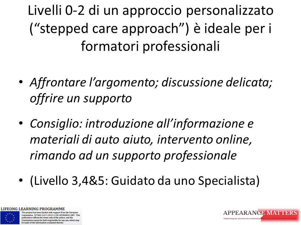 """Livelli 0-2 di un approccio personalizzato (""""stepped care approach"""") è ideale per i formatori professionali Affrontare l'argomento; discussione delica"""