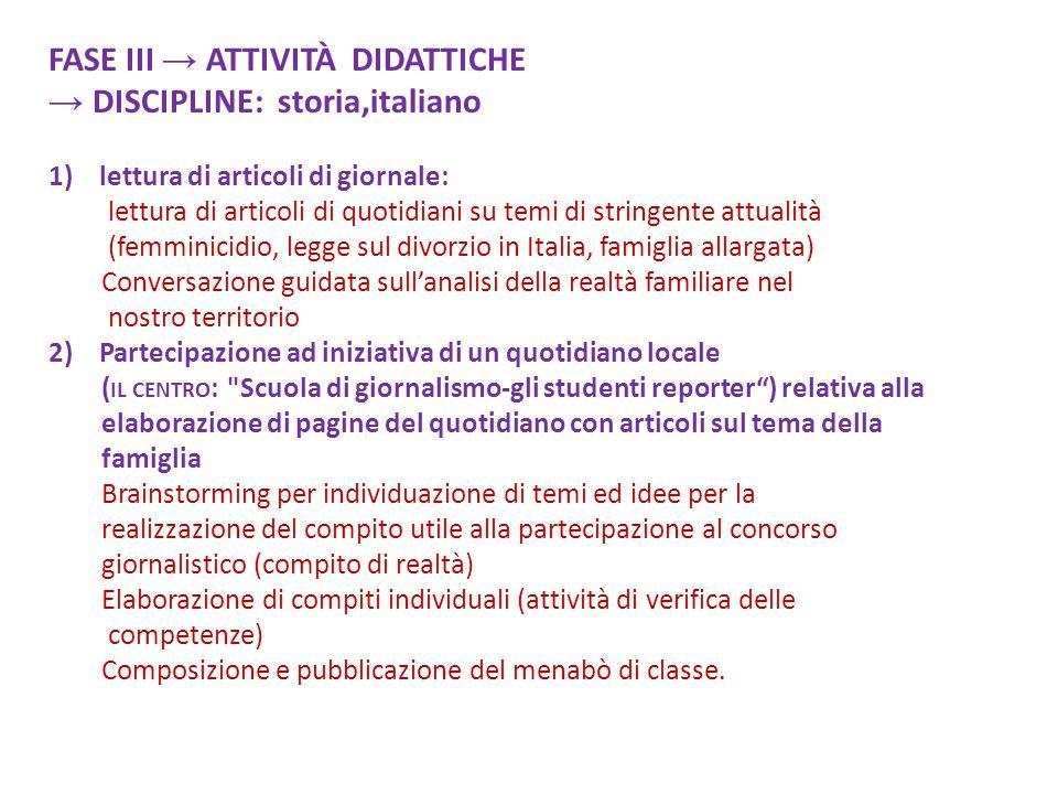 FASE III → ATTIVITÀ DIDATTICHE → DISCIPLINE: storia,italiano 1) lettura di articoli di giornale: lettura di articoli di quotidiani su temi di stringen