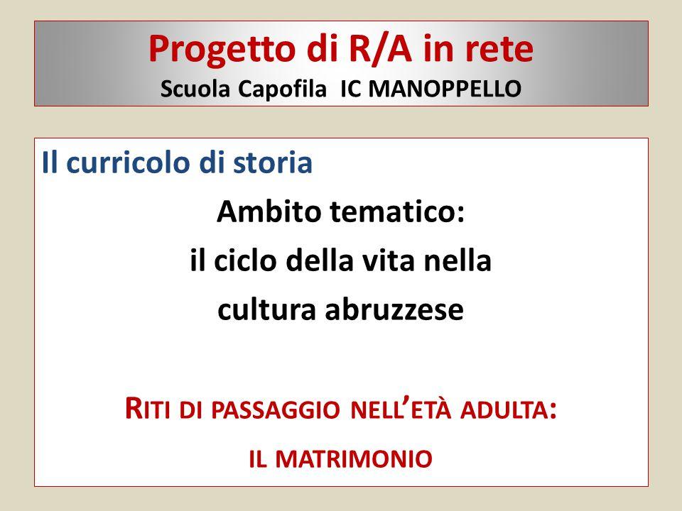 Progetto di R/A in rete Scuola Capofila IC MANOPPELLO Il curricolo di storia Ambito tematico: il ciclo della vita nella cultura abruzzese R ITI DI PAS