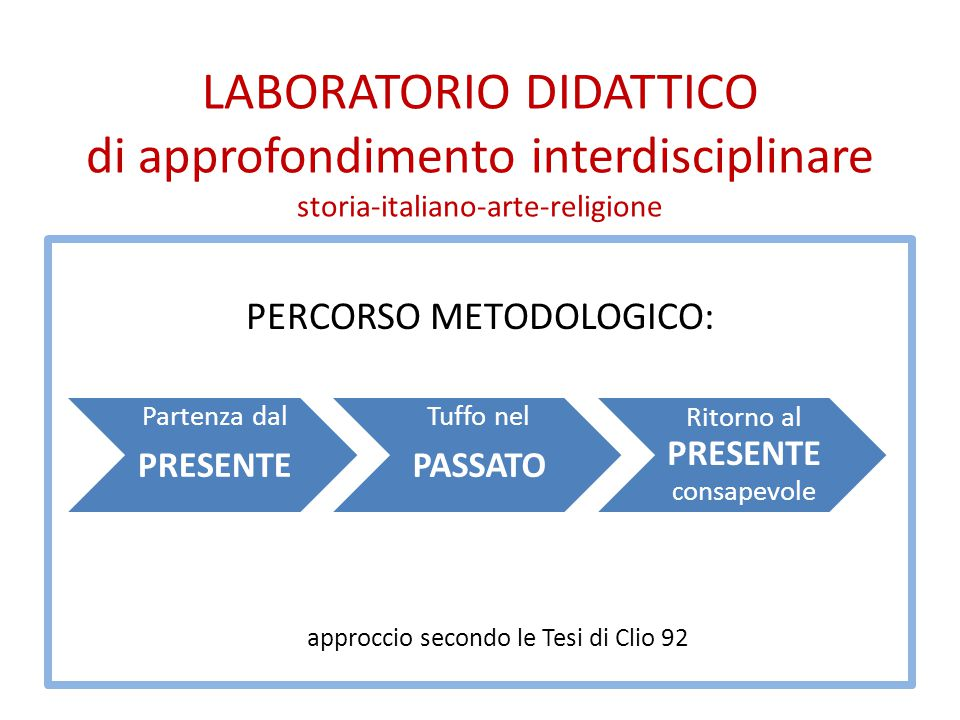 LABORATORIO DIDATTICO di approfondimento interdisciplinare storia-italiano-arte-religione PERCORSO METODOLOGICO: approccio secondo le Tesi di Clio 92
