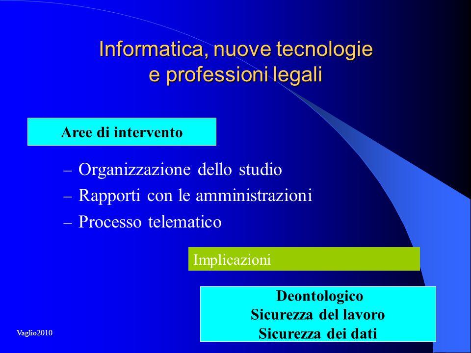 Informatica, nuove tecnologie e professioni legali – Organizzazione dello studio – Rapporti con le amministrazioni – Processo telematico Implicazioni Aree di intervento Deontologico Sicurezza del lavoro Sicurezza dei dati Vaglio2010