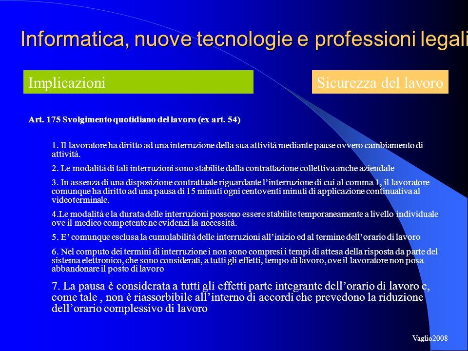 Art. 175 Svolgimento quotidiano del lavoro (ex art.