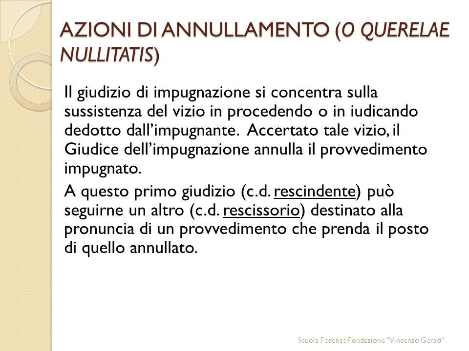 AZIONI DI ANNULLAMENTO (O QUERELAE NULLITATIS) Il giudizio di impugnazione si concentra sulla sussistenza del vizio in procedendo o in iudicando dedotto dall'impugnante.