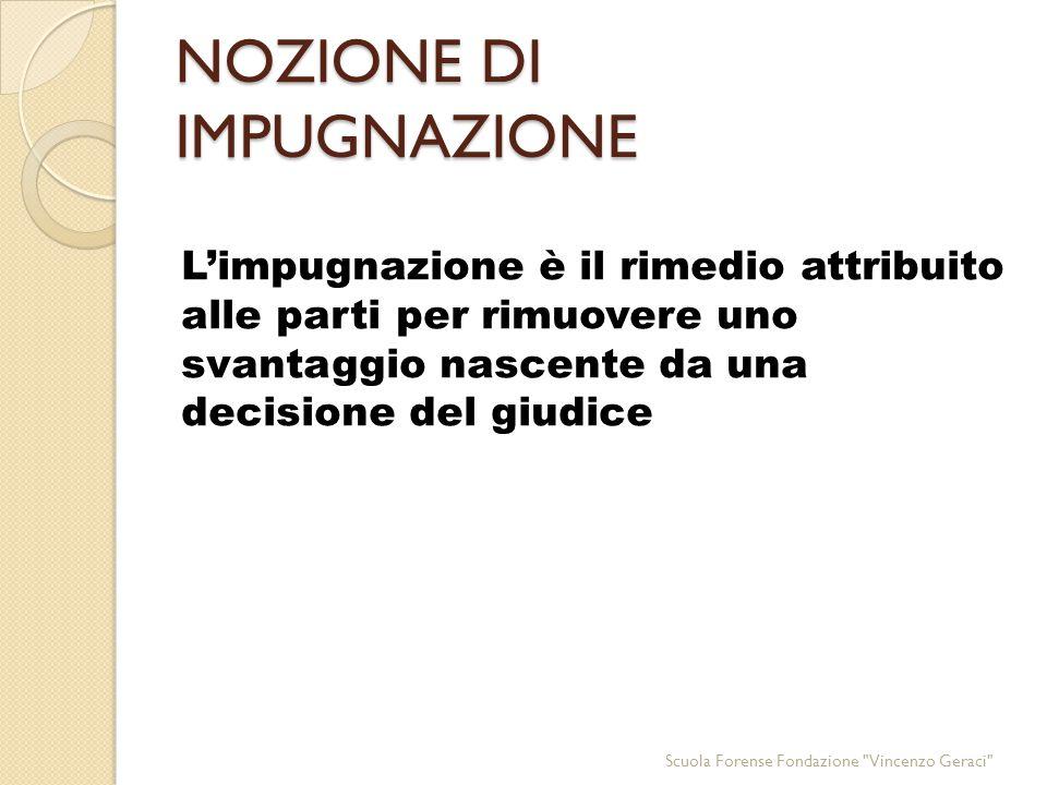 I MEZZI DI IMPUGNAZIONE SONO TIPICI Scuola Forense Fondazione Vincenzo Geraci