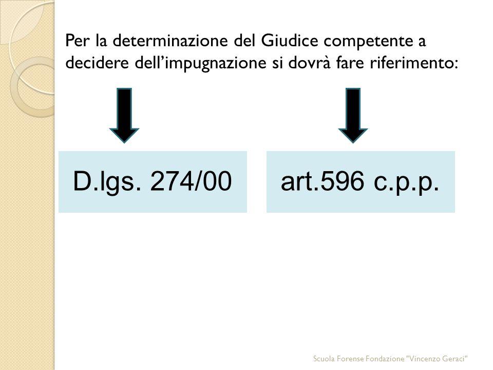 Per la determinazione del Giudice competente a decidere dell'impugnazione si dovrà fare riferimento: D.lgs.