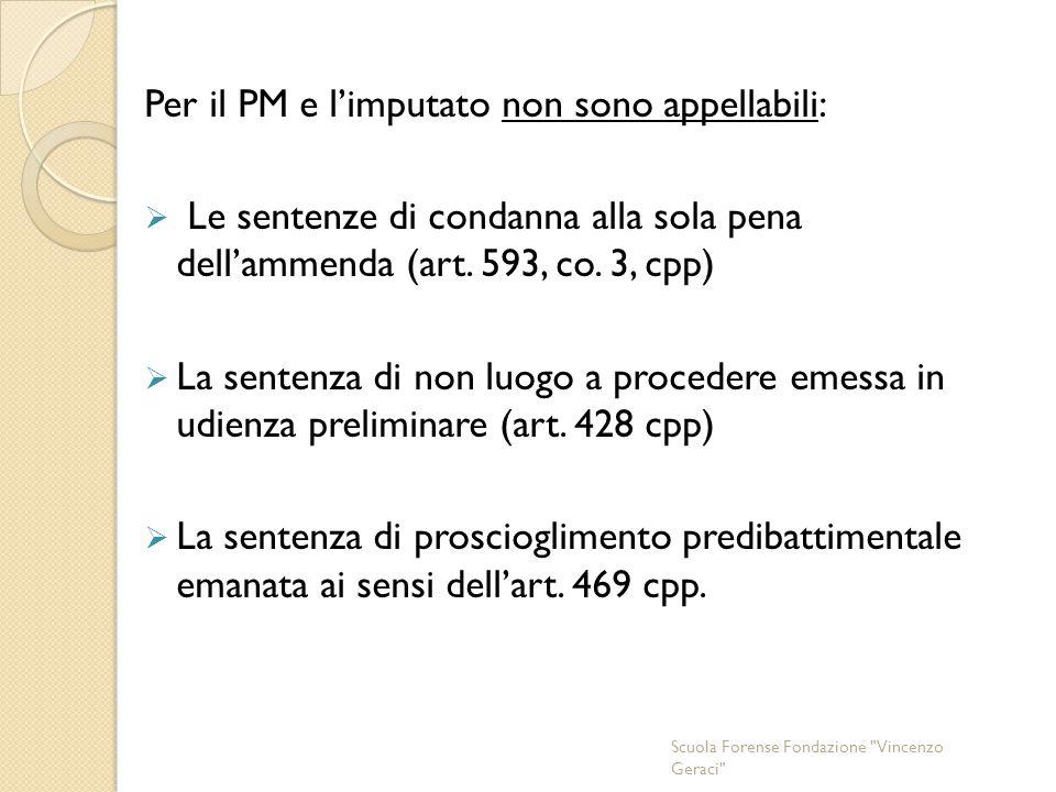 Per il PM e l'imputato non sono appellabili:  Le sentenze di condanna alla sola pena dell'ammenda (art.