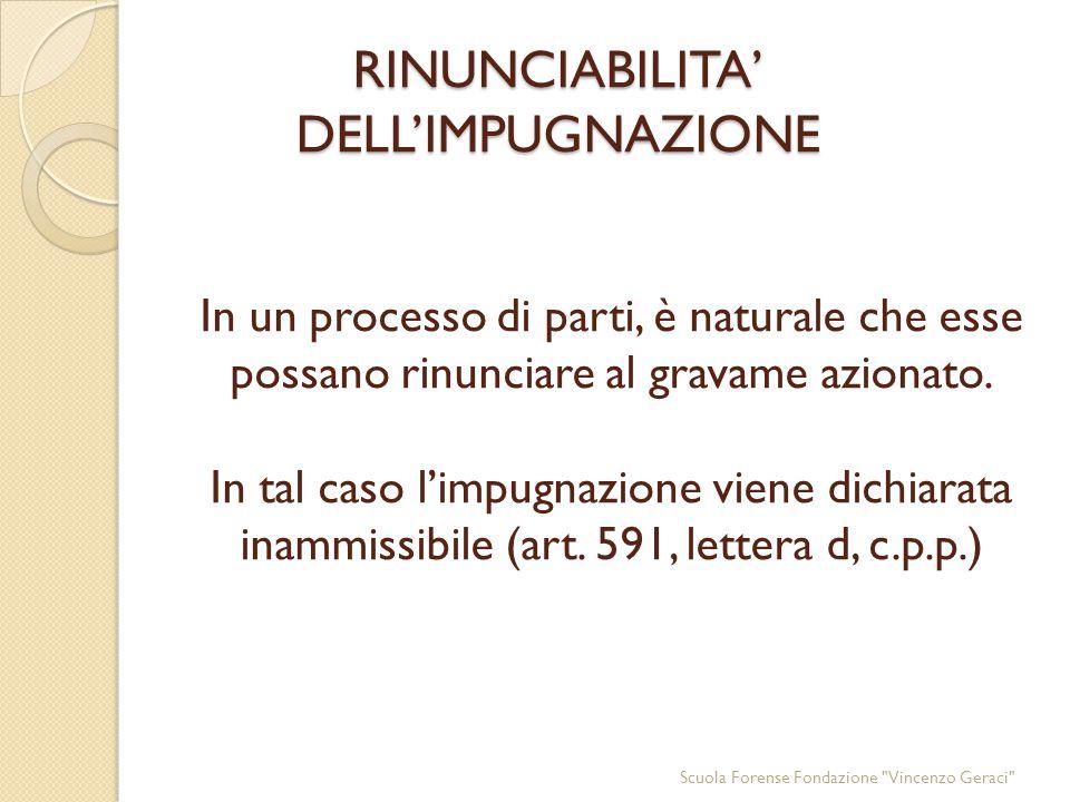 RINUNCIABILITA' DELL'IMPUGNAZIONE RINUNCIABILITA' DELL'IMPUGNAZIONE In un processo di parti, è naturale che esse possano rinunciare al gravame azionato.