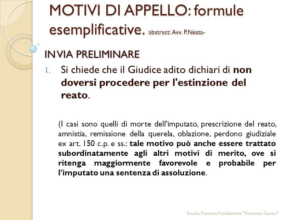 MOTIVI DI APPELLO: formule esemplificative.abstract: Avv.