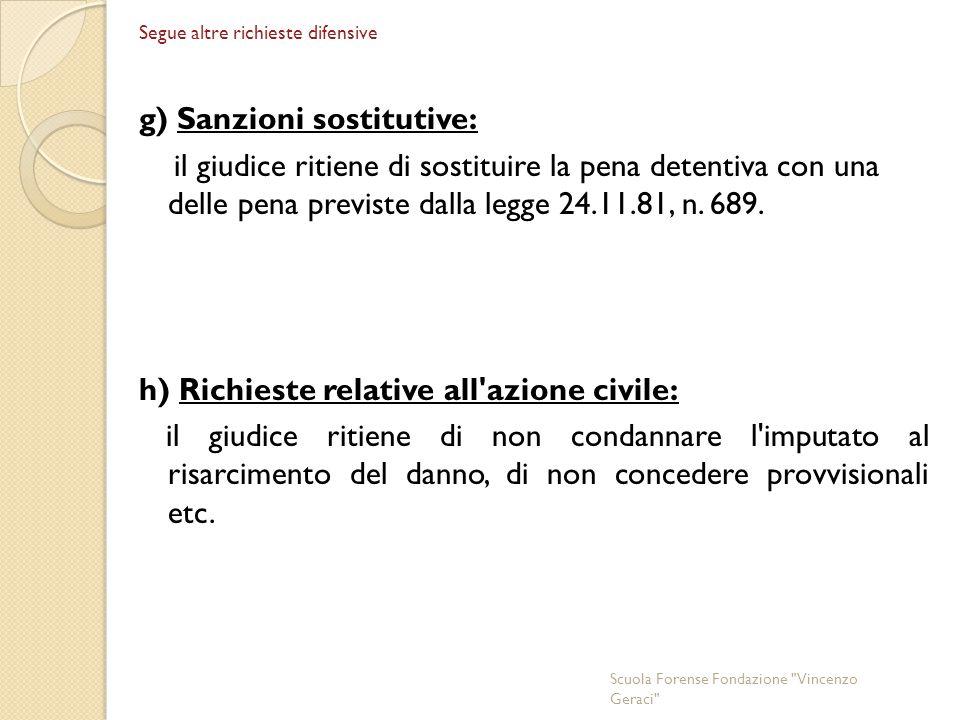 Segue altre richieste difensive g) Sanzioni sostitutive: il giudice ritiene di sostituire la pena detentiva con una delle pena previste dalla legge 24.11.81, n.