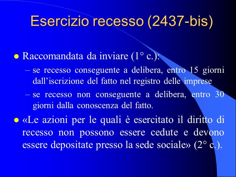 Esercizio recesso (2437-bis) l Raccomandata da inviare (1° c.): –se recesso conseguente a delibera, entro 15 giorni dall'iscrizione del fatto nel regi