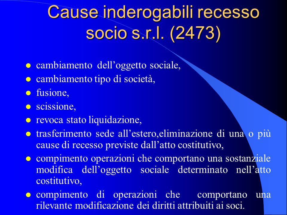 Cause inderogabili recesso socio s.r.l. (2473) l cambiamento dell'oggetto sociale, l cambiamento tipo di società, l fusione, l scissione, l revoca sta