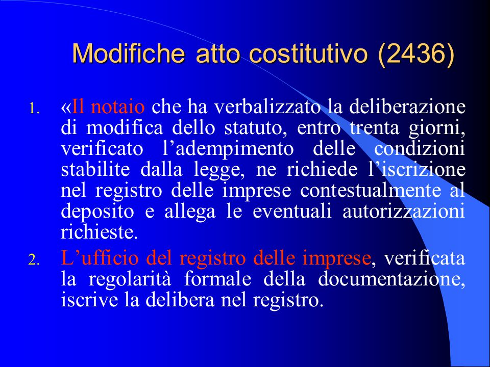 Modifiche atto costitutivo (2436) 1. «Il notaio che ha verbalizzato la deliberazione di modifica dello statuto, entro trenta giorni, verificato l'adem