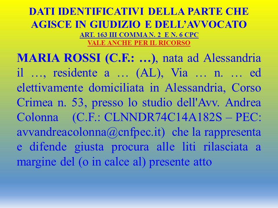 DATI IDENTIFICATIVI DELLA PARTE CHE AGISCE IN GIUDIZIO E DELL'AVVOCATO ART. 163 III COMMA N. 2 E N. 6 CPC VALE ANCHE PER IL RICORSO MARIA ROSSI (C.F.: