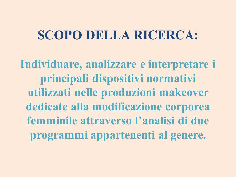 SCOPO DELLA RICERCA: Individuare, analizzare e interpretare i principali dispositivi normativi utilizzati nelle produzioni makeover dedicate alla modi