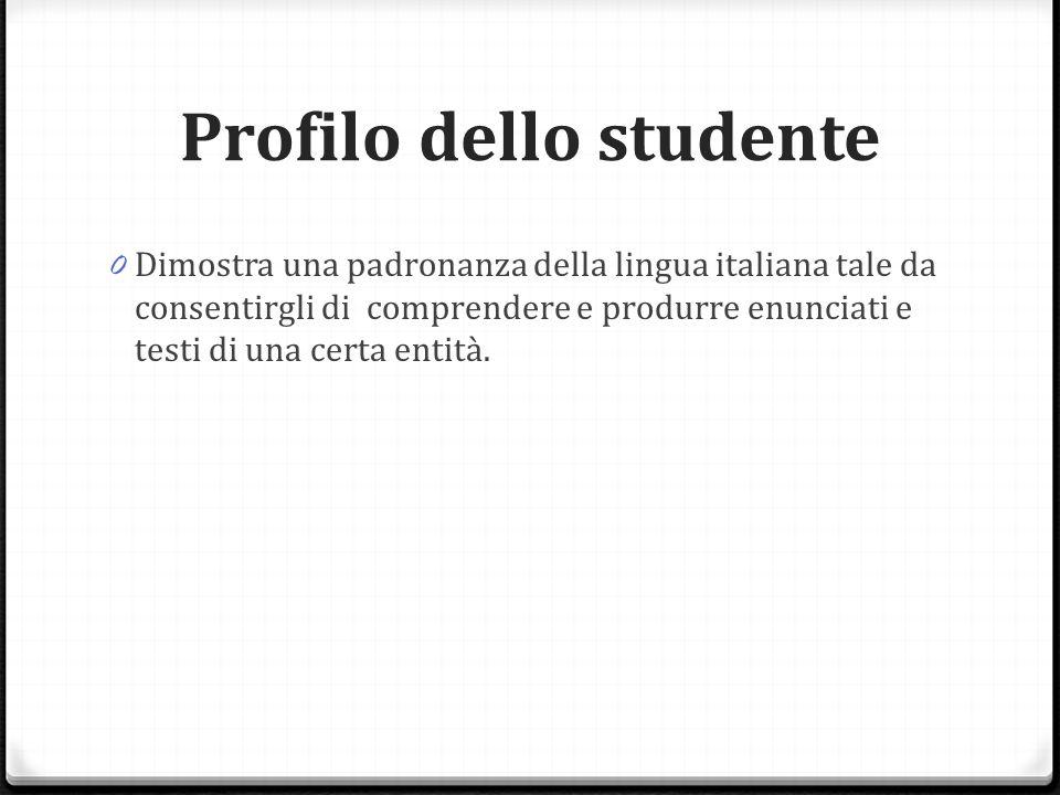 Profilo dello studente 0 Dimostra una padronanza della lingua italiana tale da consentirgli di comprendere e produrre enunciati e testi di una certa entità.