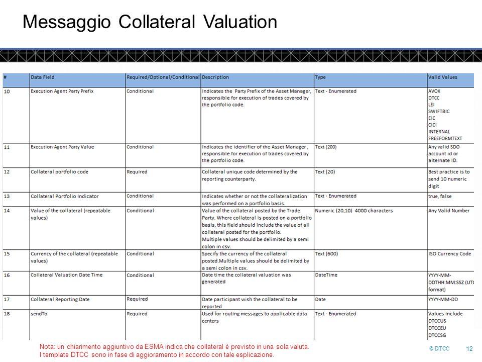 © DTCC 12 Messaggio Collateral Valuation Nota: un chiarimento aggiuntivo da ESMA indica che collateral è previsto in una sola valuta.
