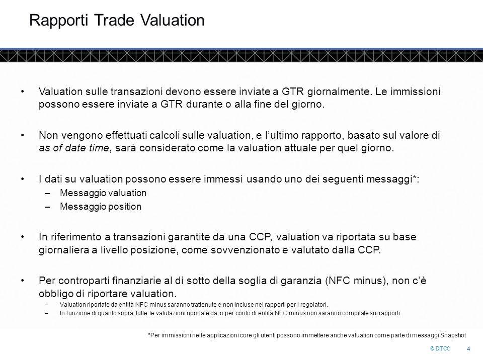 © DTCC 4 4 Rapporti Trade Valuation Valuation sulle transazioni devono essere inviate a GTR giornalmente.