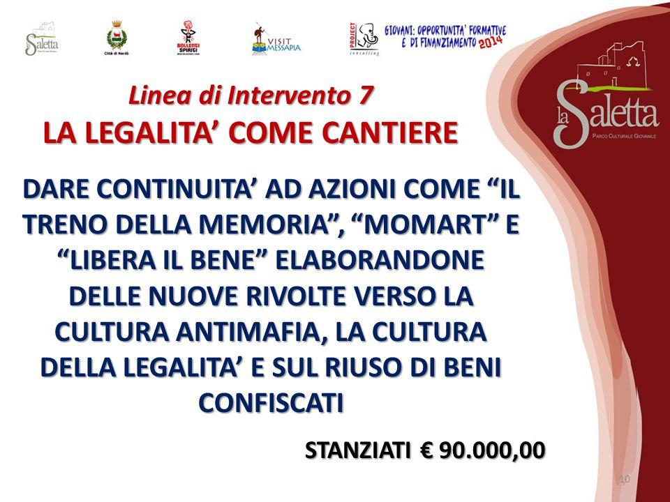 Linea di Intervento 7 LA LEGALITA' COME CANTIERE DARE CONTINUITA' AD AZIONI COME IL TRENO DELLA MEMORIA , MOMART E LIBERA IL BENE ELABORANDONE DELLE NUOVE RIVOLTE VERSO LA CULTURA ANTIMAFIA, LA CULTURA DELLA LEGALITA' E SUL RIUSO DI BENI CONFISCATI STANZIATI € 90.000,00 10