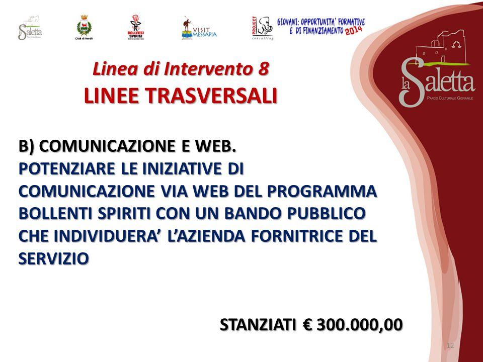 Linea di Intervento 8 LINEE TRASVERSALI B) COMUNICAZIONE E WEB.