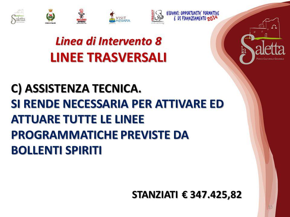 Linea di Intervento 8 LINEE TRASVERSALI C) ASSISTENZA TECNICA.