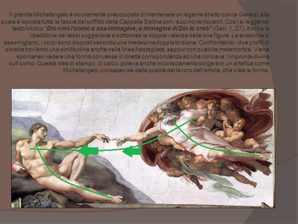 Il grande Michelangelo è sicuramente preoccupato di mantenere un legame stretto con la Genesi, alla quale è ispirata tutta la fascia del soffitto dell