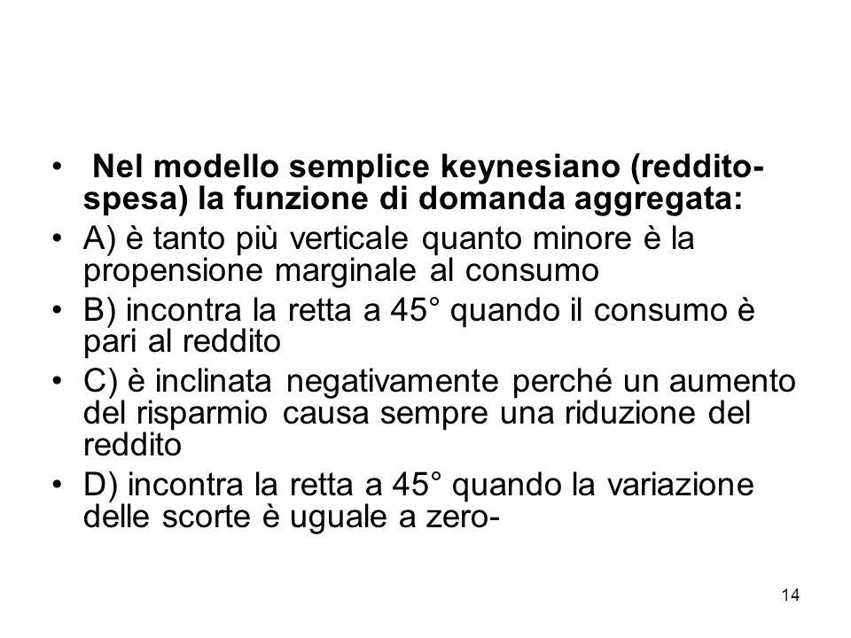 14 Nel modello semplice keynesiano (reddito- spesa) la funzione di domanda aggregata: A) è tanto più verticale quanto minore è la propensione marginal