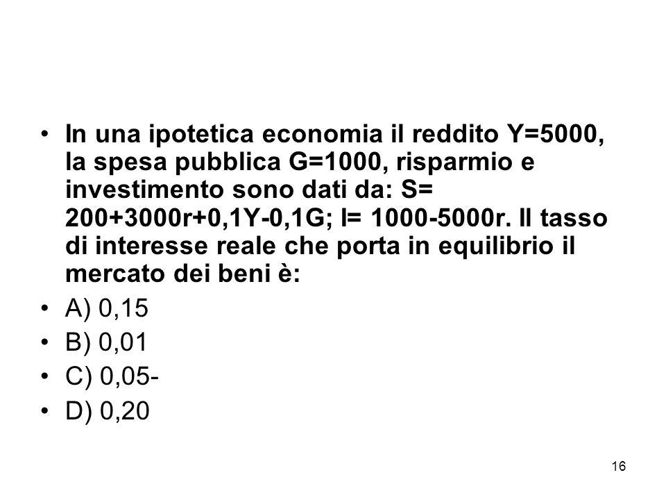 16 In una ipotetica economia il reddito Y=5000, la spesa pubblica G=1000, risparmio e investimento sono dati da: S= 200+3000r+0,1Y-0,1G; I= 1000-5000r