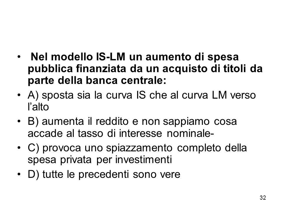 32 Nel modello IS-LM un aumento di spesa pubblica finanziata da un acquisto di titoli da parte della banca centrale: A) sposta sia la curva IS che al