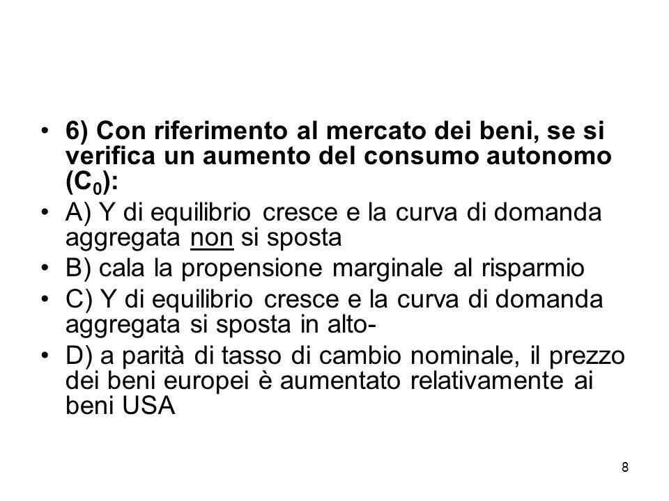 8 6) Con riferimento al mercato dei beni, se si verifica un aumento del consumo autonomo (C 0 ): A) Y di equilibrio cresce e la curva di domanda aggregata non si sposta B) cala la propensione marginale al risparmio C) Y di equilibrio cresce e la curva di domanda aggregata si sposta in alto- D) a parità di tasso di cambio nominale, il prezzo dei beni europei è aumentato relativamente ai beni USA