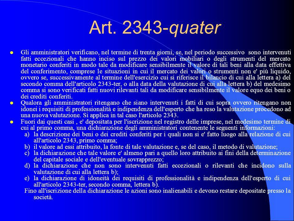 Art. 2343-quater l Gli amministratori verificano, nel termine di trenta giorni, se, nel periodo successivo sono intervenuti fatti eccezionali che hann