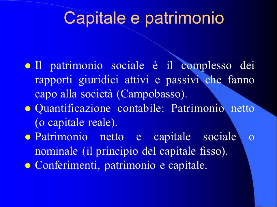 Capitale e patrimonio l Il patrimonio sociale è il complesso dei rapporti giuridici attivi e passivi che fanno capo alla società (Campobasso). l Quant