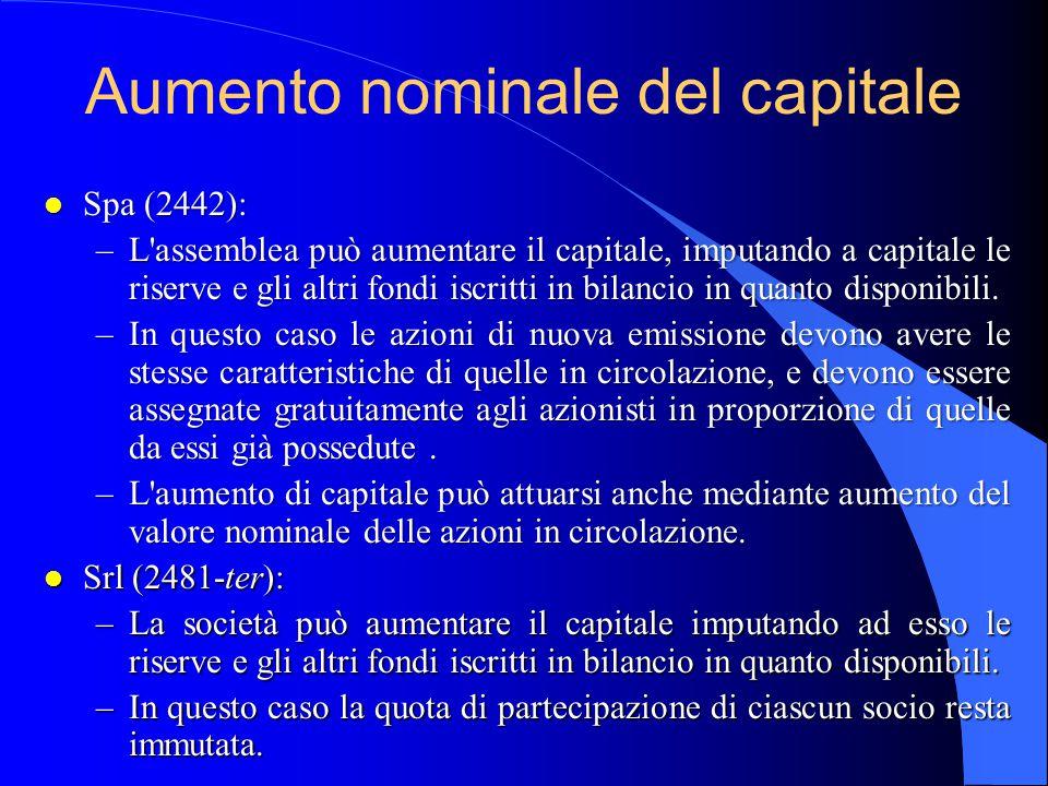 Aumento nominale del capitale l Spa (2442): –L assemblea può aumentare il capitale, imputando a capitale le riserve e gli altri fondi iscritti in bilancio in quanto disponibili.