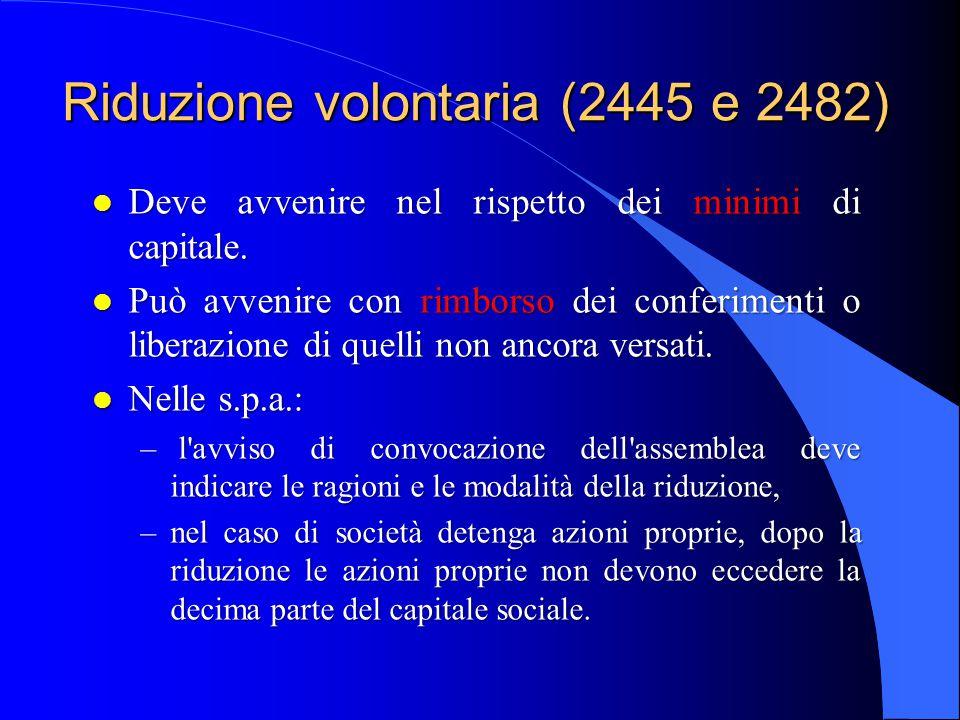 Riduzione volontaria (2445 e 2482) l Deve avvenire nel rispetto dei minimi di capitale. l Può avvenire con rimborso dei conferimenti o liberazione di
