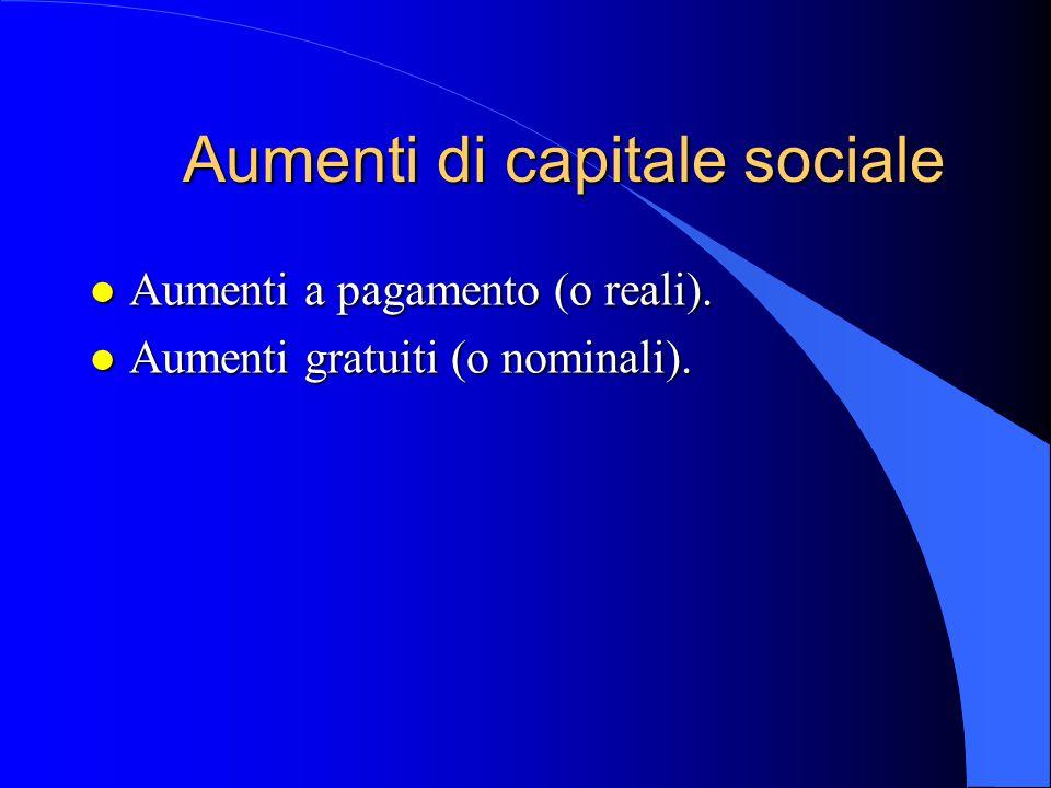 Aumenti di capitale sociale l Aumenti a pagamento (o reali). l Aumenti gratuiti (o nominali).