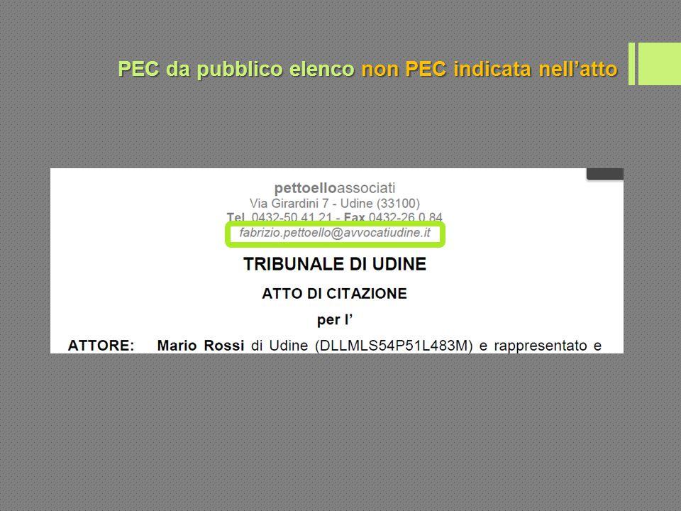 PEC da pubblico elenco non PEC indicata nell'atto