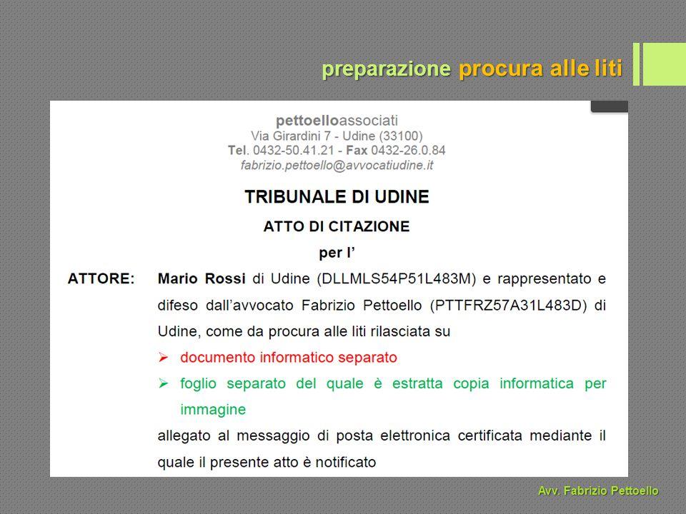 preparazione procura alle liti Avv. Fabrizio Pettoello