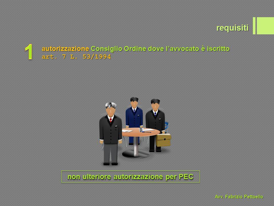 requisiti autorizzazione Consiglio Ordine dove l'avvocato è iscritto art. 7 L. 53/1994 non ulteriore autorizzazione per PEC Avv. Fabrizio Pettoello