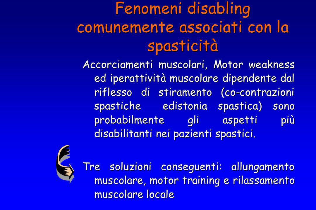 Accorciamenti muscolari, Motor weakness ed iperattività muscolare dipendente dal riflesso di stiramento (co-contrazioni spastiche edistonia spastica)
