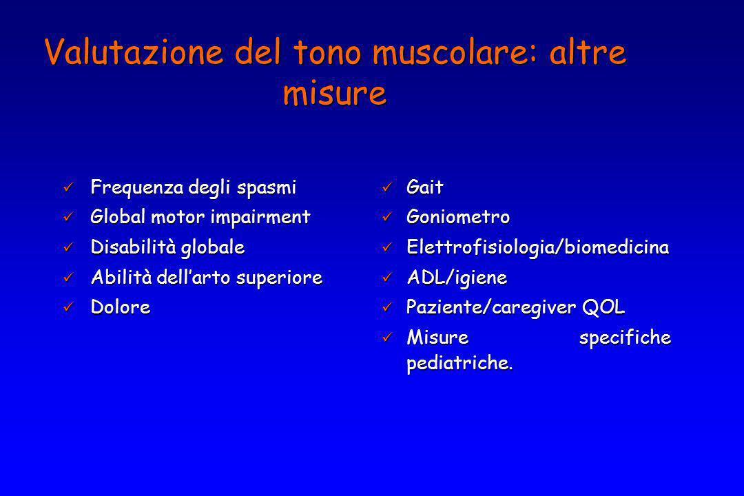 Valutazione del tono muscolare: altre misure Frequenza degli spasmi Frequenza degli spasmi Global motor impairment Global motor impairment Disabilità