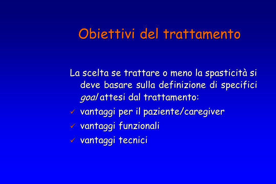 La scelta se trattare o meno la spasticità si deve basare sulla definizione di specifici goal attesi dal trattamento: vantaggi per il paziente/caregiv