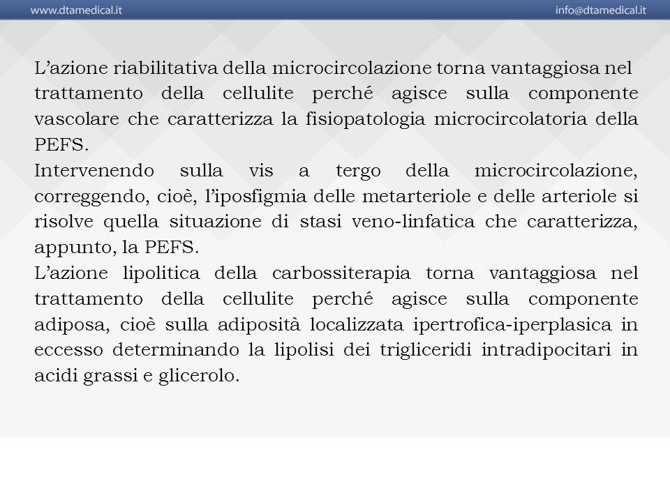 L'azione riabilitativa della microcircolazione torna vantaggiosa nel trattamento della cellulite perché agisce sulla componente vascolare che caratterizza la fisiopatologia microcircolatoria della PEFS.