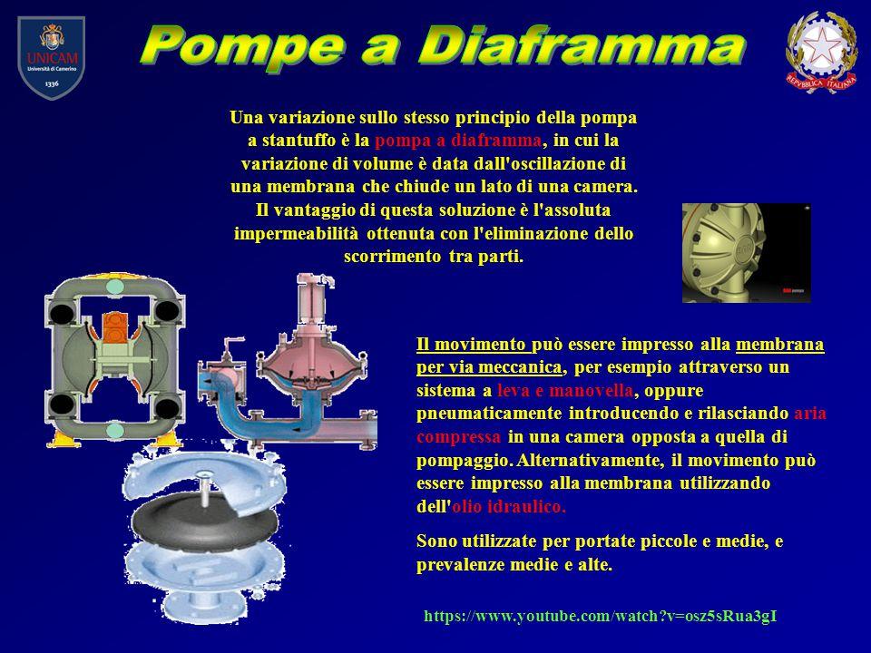 Una variazione sullo stesso principio della pompa a stantuffo è la pompa a diaframma, in cui la variazione di volume è data dall'oscillazione di una m